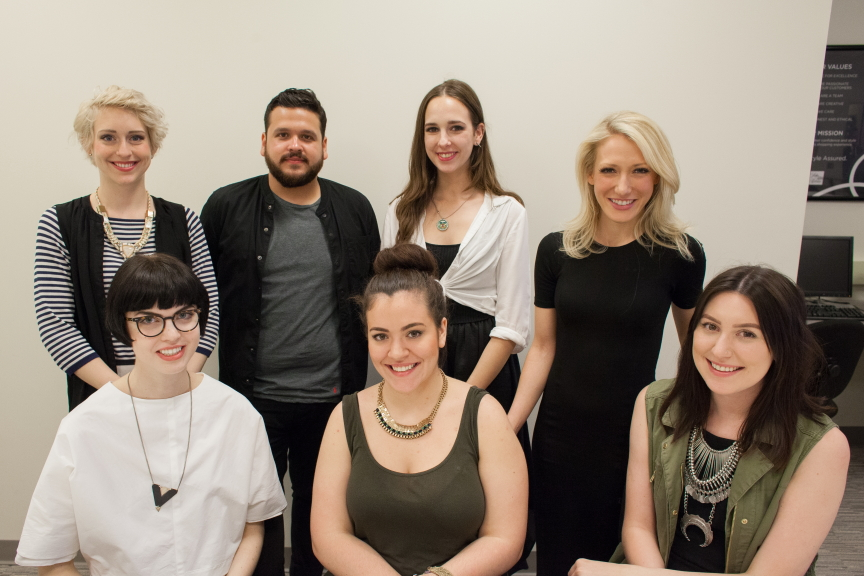 Front row (from left to right): Liz Bahl, Nicole Dieschbourg, Rebecca Blanton; Back Row (from left to right): Erica Danz, Victor Romano, Samantha Petkofski, Nora Faye Kiecker